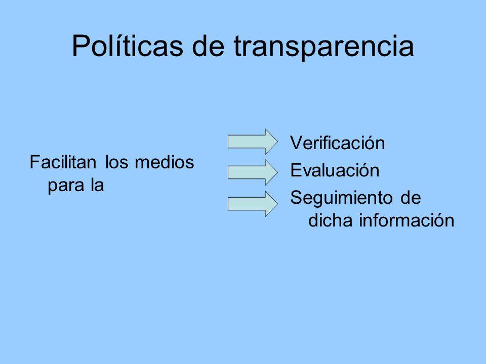 Políticas de transparencia Facilitan los medios para la Verificación Evaluación Seguimiento de dicha información