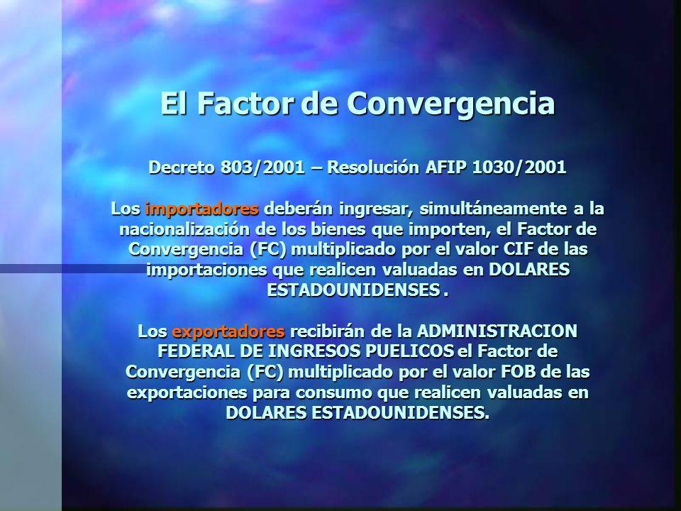 El Factor de Convergencia Decreto 803/2001 – Resolución AFIP 1030/2001 Los importadores deberán ingresar, simultáneamente a la nacionalización de los bienes que importen, el Factor de Convergencia (FC) multiplicado por el valor CIF de las importaciones que realicen valuadas en DOLARES ESTADOUNIDENSES.