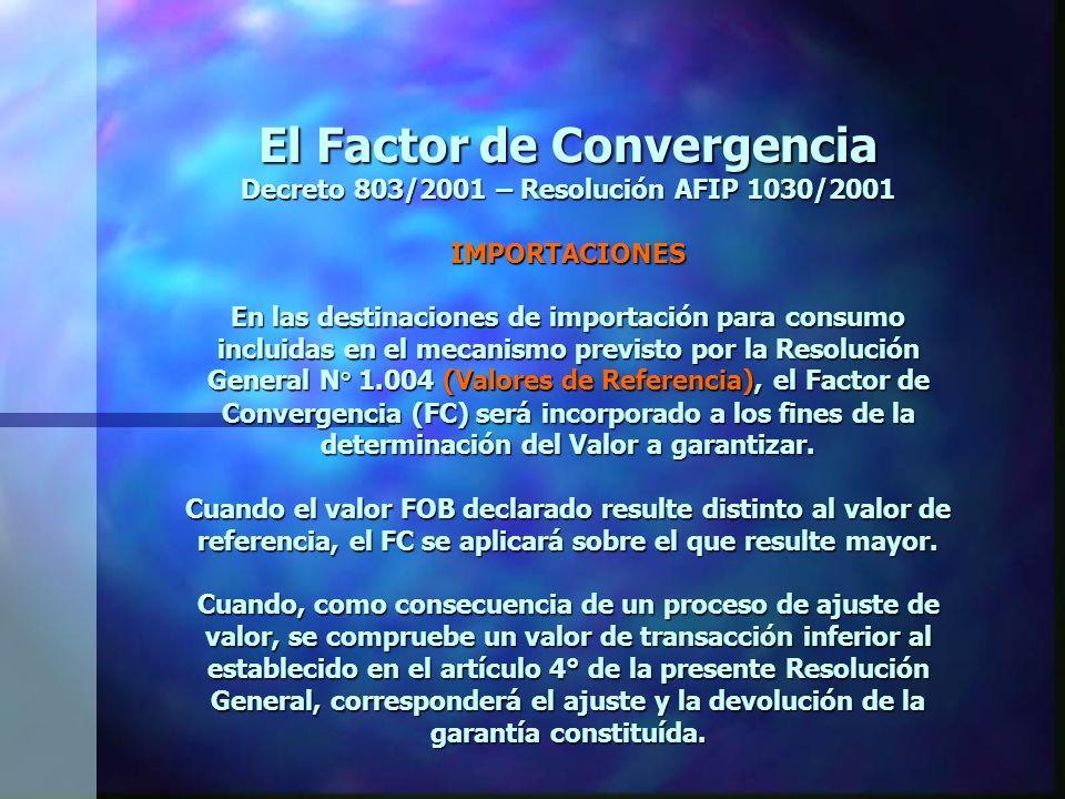 El Factor de Convergencia Decreto 803/2001 – Resolución AFIP 1030/2001 IMPORTACIONES En las destinaciones de importación para consumo incluidas en el mecanismo previsto por la Resolución General N° 1.004 (Valores de Referencia), el Factor de Convergencia (FC) será incorporado a los fines de la determinación del Valor a garantizar.