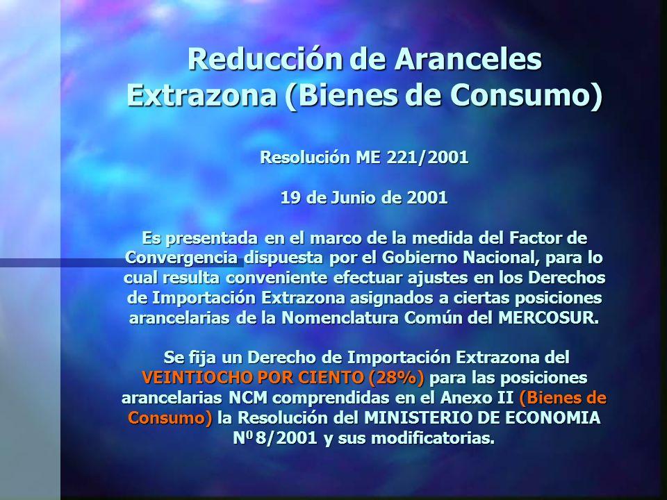 Reducción de Aranceles Extrazona (Bienes de Consumo) Resolución ME 221/2001 19 de Junio de 2001 Es presentada en el marco de la medida del Factor de Convergencia dispuesta por el Gobierno Nacional, para lo cual resulta conveniente efectuar ajustes en los Derechos de Importación Extrazona asignados a ciertas posiciones arancelarias de la Nomenclatura Común del MERCOSUR.