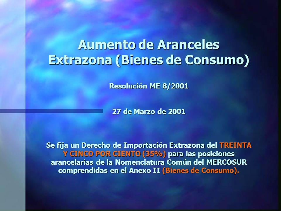 Aumento de Aranceles Extrazona (Bienes de Consumo) Resolución ME 8/2001 27 de Marzo de 2001 Se fija un Derecho de Importación Extrazona del TREINTA Y CINCO POR CIENTO (35%) para las posiciones arancelarias de la Nomenclatura Común del MERCOSUR comprendidas en el Anexo II (Bienes de Consumo).