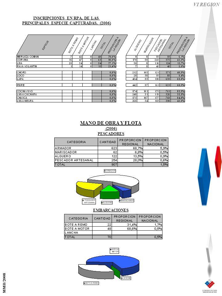 VI REGION EMBARCACIONES PESCADORES MANO DE OBRA Y FLOTA (2006) INSCRIPCIONES EN RPA, DE LAS PRINCIPALES ESPECIE CAPTURADAS, (2006) MMB/2008