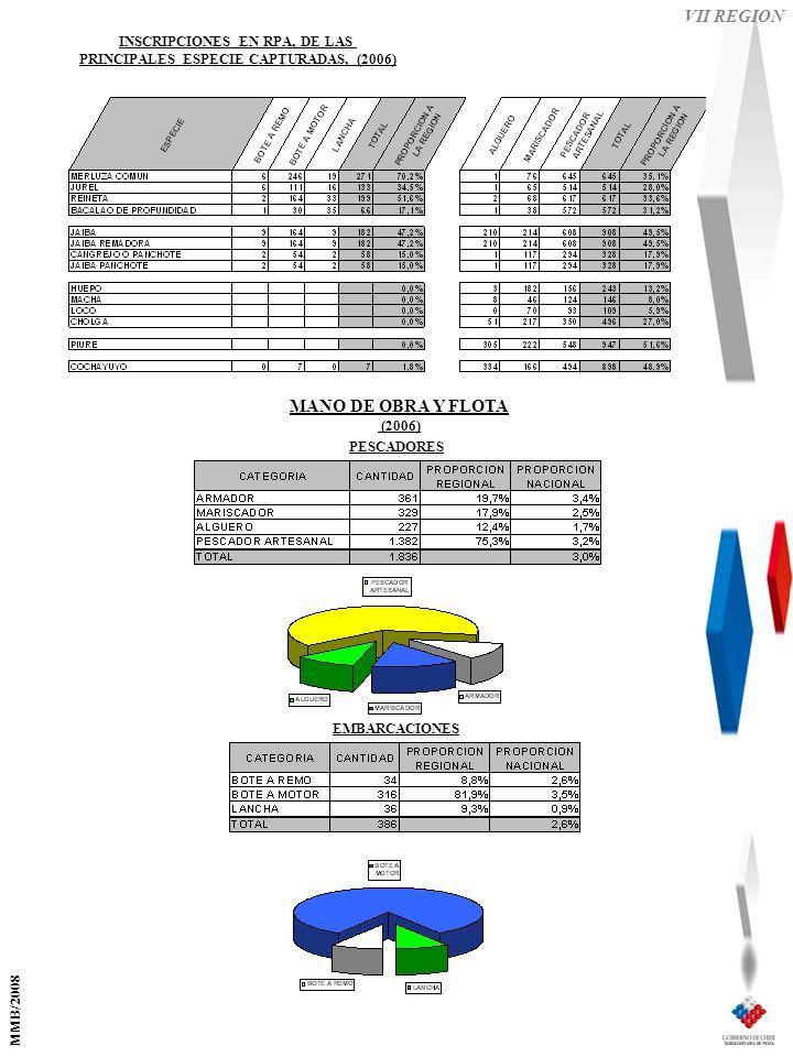 VII REGION EMBARCACIONES PESCADORES MANO DE OBRA Y FLOTA (2006) INSCRIPCIONES EN RPA, DE LAS PRINCIPALES ESPECIE CAPTURADAS, (2006) MMB/2008