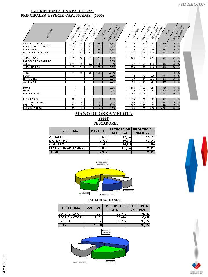 VIII REGION EMBARCACIONES PESCADORES MANO DE OBRA Y FLOTA (2006) INSCRIPCIONES EN RPA, DE LAS PRINCIPALES ESPECIE CAPTURADAS, (2006) MMB/2008