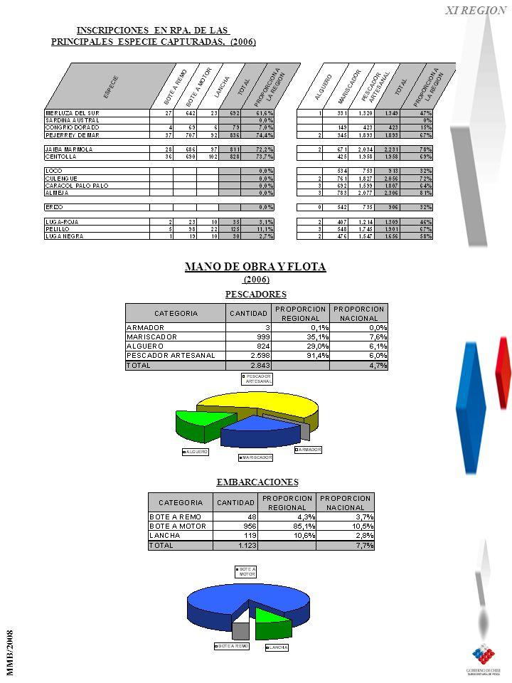 XI REGION EMBARCACIONES PESCADORES MANO DE OBRA Y FLOTA (2006) INSCRIPCIONES EN RPA, DE LAS PRINCIPALES ESPECIE CAPTURADAS, (2006) MMB/2008