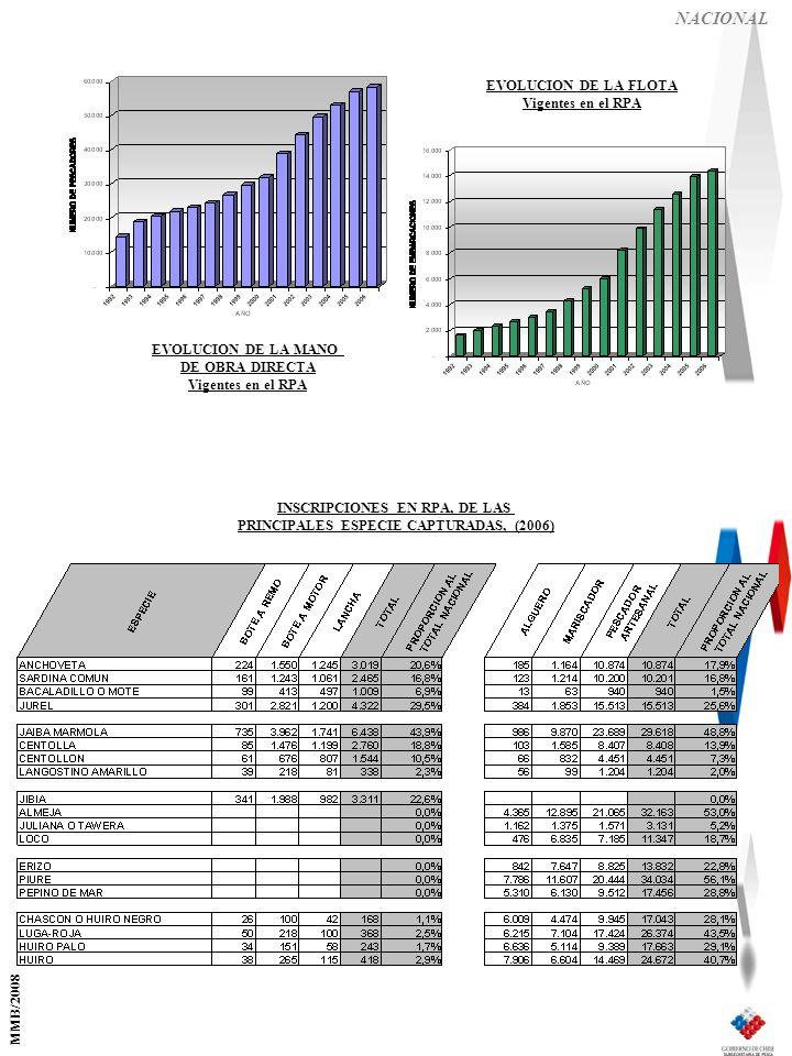 NACIONAL EVOLUCION DE LA MANO DE OBRA DIRECTA Vigentes en el RPA EVOLUCION DE LA FLOTA Vigentes en el RPA INSCRIPCIONES EN RPA, DE LAS PRINCIPALES ESPECIE CAPTURADAS, (2006) MMB/2008