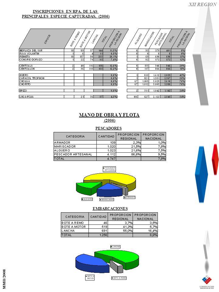 XII REGION EMBARCACIONES PESCADORES MANO DE OBRA Y FLOTA (2006) INSCRIPCIONES EN RPA, DE LAS PRINCIPALES ESPECIE CAPTURADAS, (2006) MMB/2008