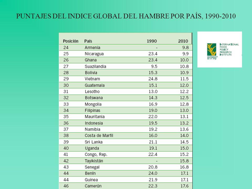 PUNTAJES DEL INDICE GLOBAL DEL HAMBRE POR PAÍS, 1990-2010