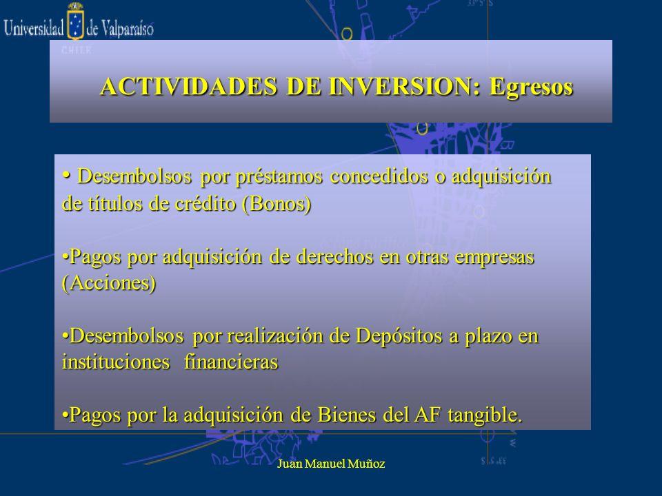 Juan Manuel Muñoz ACTIVIDADES DE INVERSION: Egresos Desembolsos por préstamos concedidos o adquisición de títulos de crédito (Bonos) Desembolsos por p