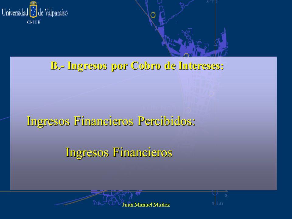 Juan Manuel Muñoz B.- Ingresos por Cobro de Intereses: Ingresos Financieros Percibidos: Ingresos Financieros Percibidos: Ingresos Financieros Ingresos
