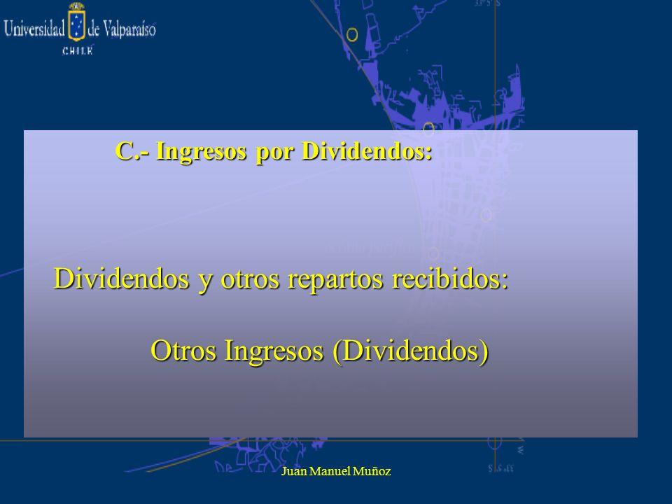 Juan Manuel Muñoz C.- Ingresos por Dividendos: Dividendos y otros repartos recibidos: Dividendos y otros repartos recibidos: Otros Ingresos (Dividendo
