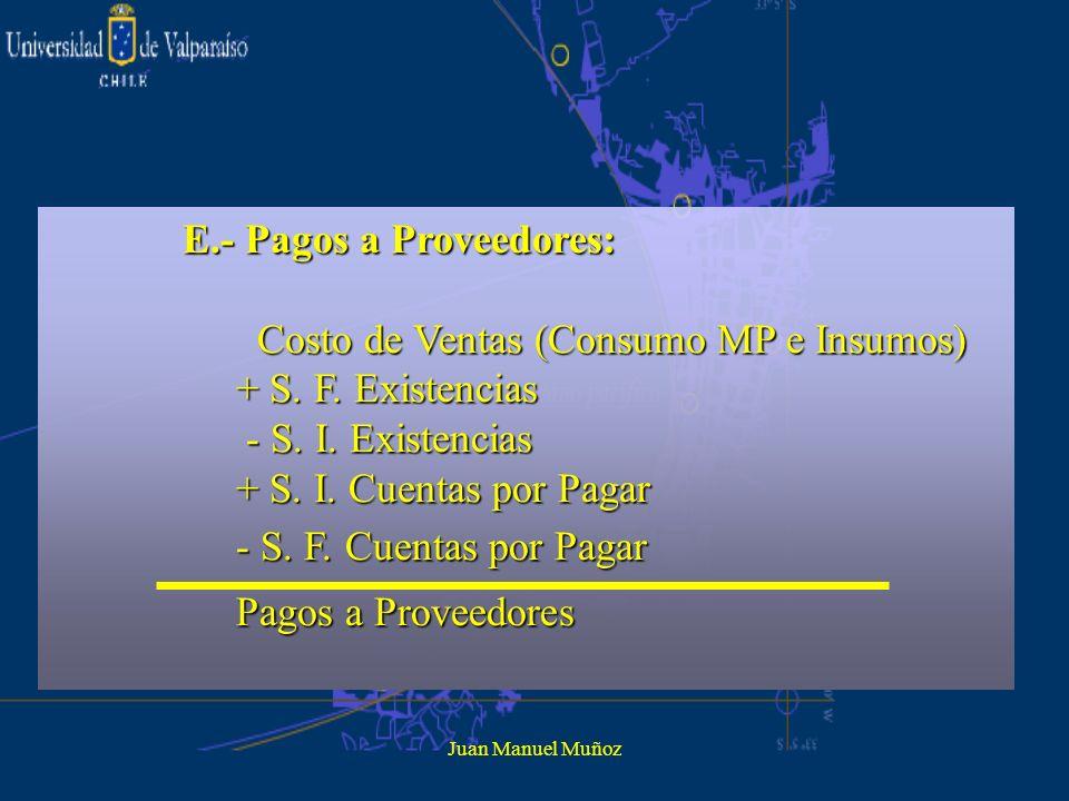 Juan Manuel Muñoz E.- Pagos a Proveedores: Costo de Ventas (Consumo MP e Insumos) Costo de Ventas (Consumo MP e Insumos) + S. F. Existencias + S. F. E