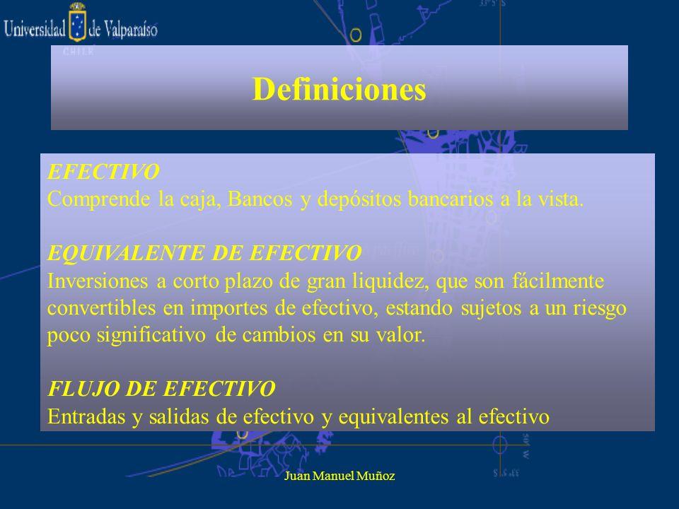 Juan Manuel Muñoz Definiciones EFECTIVO Comprende la caja, Bancos y depósitos bancarios a la vista. EQUIVALENTE DE EFECTIVO Inversiones a corto plazo
