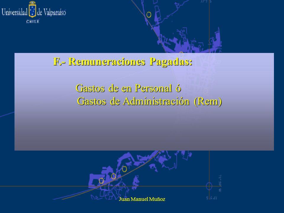 Juan Manuel Muñoz F.- Remuneraciones Pagadas: Gastos de en Personal ó Gastos de en Personal ó Gastos de Administración (Rem) Gastos de Administración