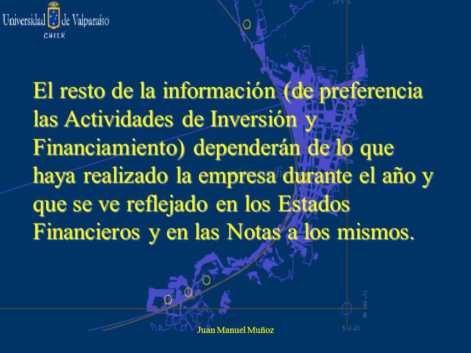 Juan Manuel Muñoz El resto de la información (de preferencia las Actividades de Inversión y Financiamiento) dependerán de lo que haya realizado la emp