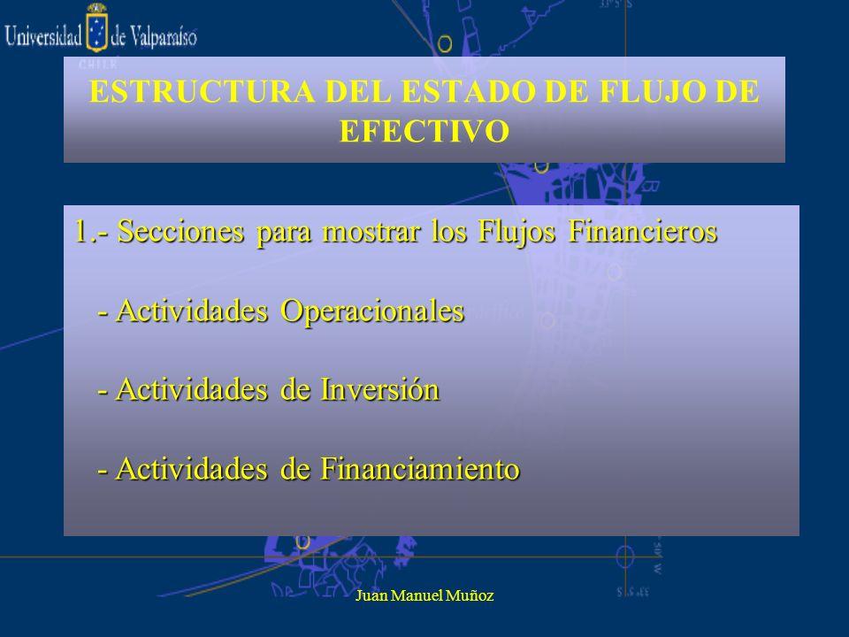 Juan Manuel Muñoz ESTRUCTURA DEL ESTADO DE FLUJO DE EFECTIVO 2.- En cada actividad se conjugan los ingresos y los egresos financieros de forma tal que finalmente se indica la utilización neta o la contribución neta al financiamiento general de la entidad.