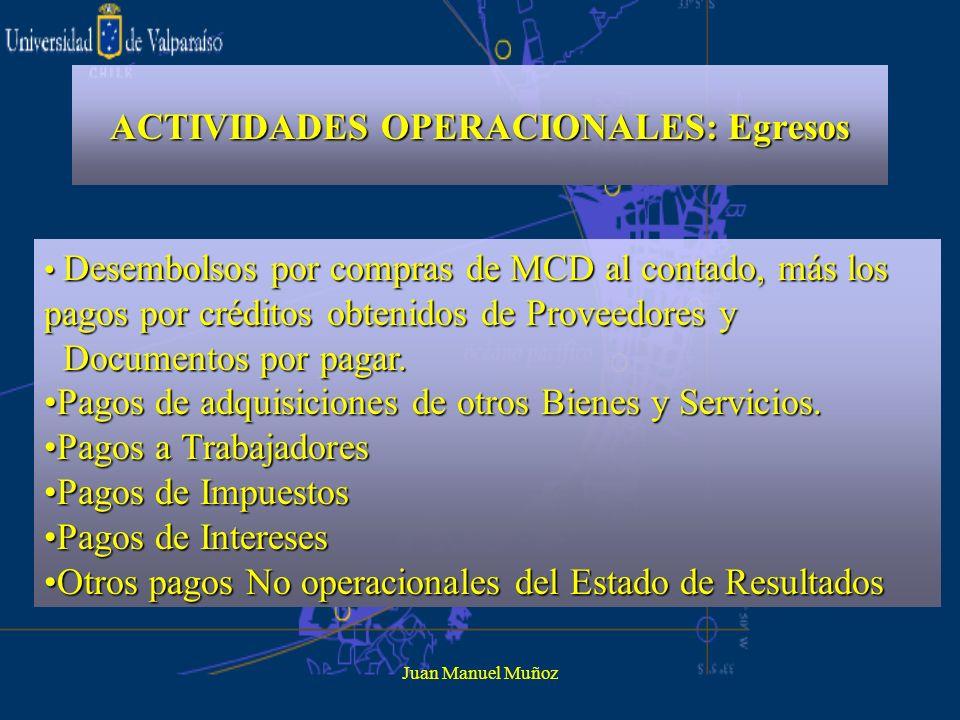 Juan Manuel Muñoz ACTIVIDADES OPERACIONALES: Egresos Desembolsos por compras de MCD al contado, más los pagos por créditos obtenidos de Proveedores y