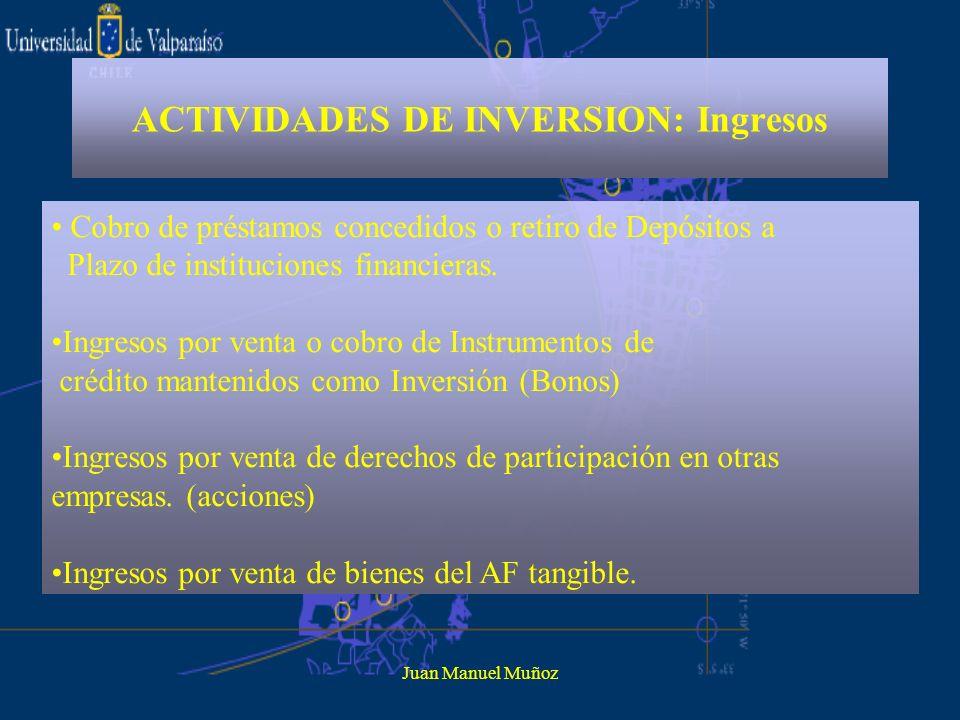 Juan Manuel Muñoz ACTIVIDADES DE INVERSION: Ingresos Cobro de préstamos concedidos o retiro de Depósitos a Plazo de instituciones financieras. Ingreso