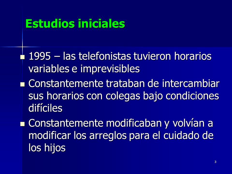 3 Estudios iniciales 1995 – las telefonistas tuvieron horarios variables e imprevisibles 1995 – las telefonistas tuvieron horarios variables e imprevi