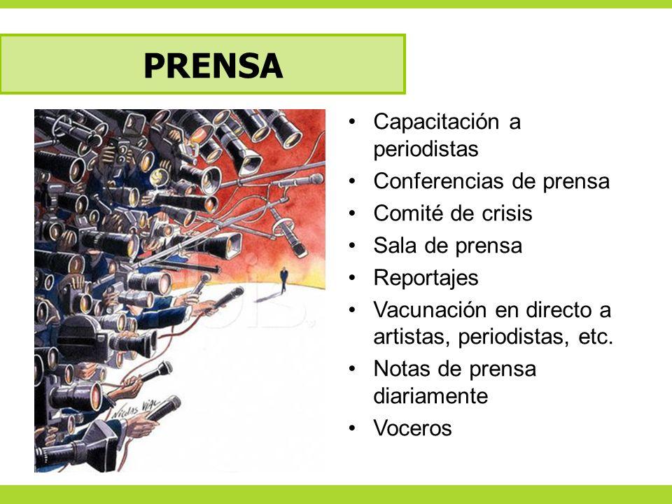PRENSA Capacitación a periodistas Conferencias de prensa Comité de crisis Sala de prensa Reportajes Vacunación en directo a artistas, periodistas, etc