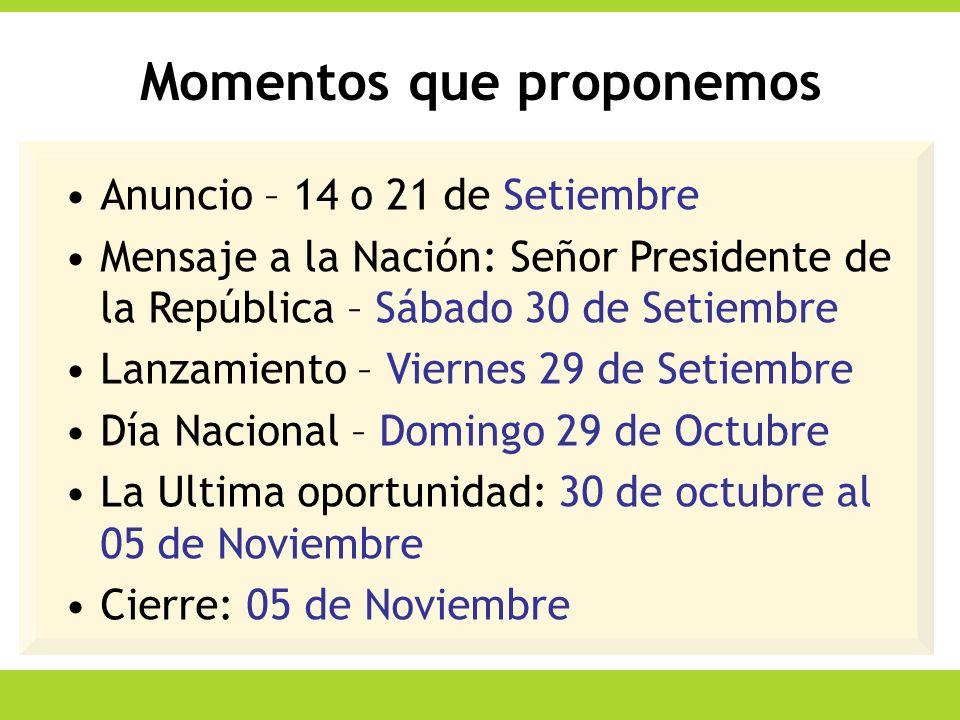 Momentos que proponemos Anuncio – 14 o 21 de Setiembre Mensaje a la Nación: Señor Presidente de la República – Sábado 30 de Setiembre Lanzamiento – Vi