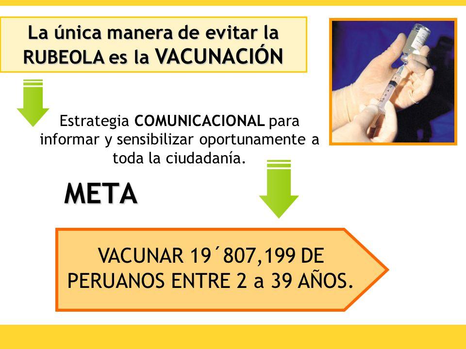 META VACUNAR 19´807,199 DE PERUANOS ENTRE 2 a 39 AÑOS. Estrategia COMUNICACIONAL para informar y sensibilizar oportunamente a toda la ciudadanía. La ú
