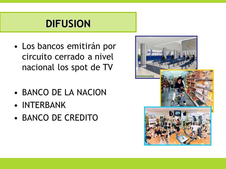 Los bancos emitirán por circuito cerrado a nivel nacional los spot de TV BANCO DE LA NACION INTERBANK BANCO DE CREDITO DIFUSION