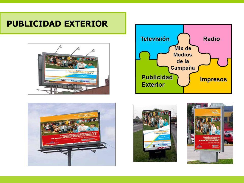 PUBLICIDAD EXTERIOR TelevisiónRadio Impresos PublicidadExterior Mix de Medios de la Campaña
