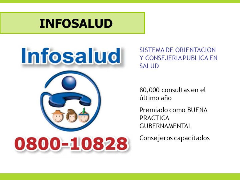 INFOSALUD SISTEMA DE ORIENTACION Y CONSEJERIA PUBLICA EN SALUD 80,000 consultas en el último año Premiado como BUENA PRACTICA GUBERNAMENTAL Consejeros