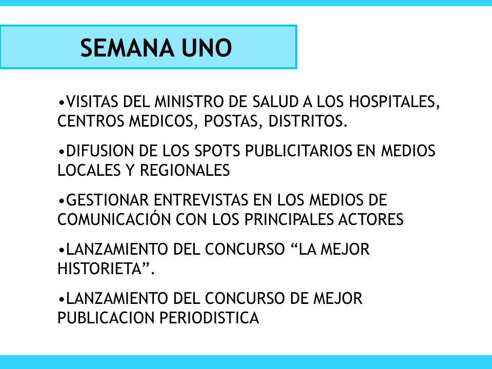 SEMANA UNO VISITAS DEL MINISTRO DE SALUD A LOS HOSPITALES, CENTROS MEDICOS, POSTAS, DISTRITOS. DIFUSION DE LOS SPOTS PUBLICITARIOS EN MEDIOS LOCALES Y