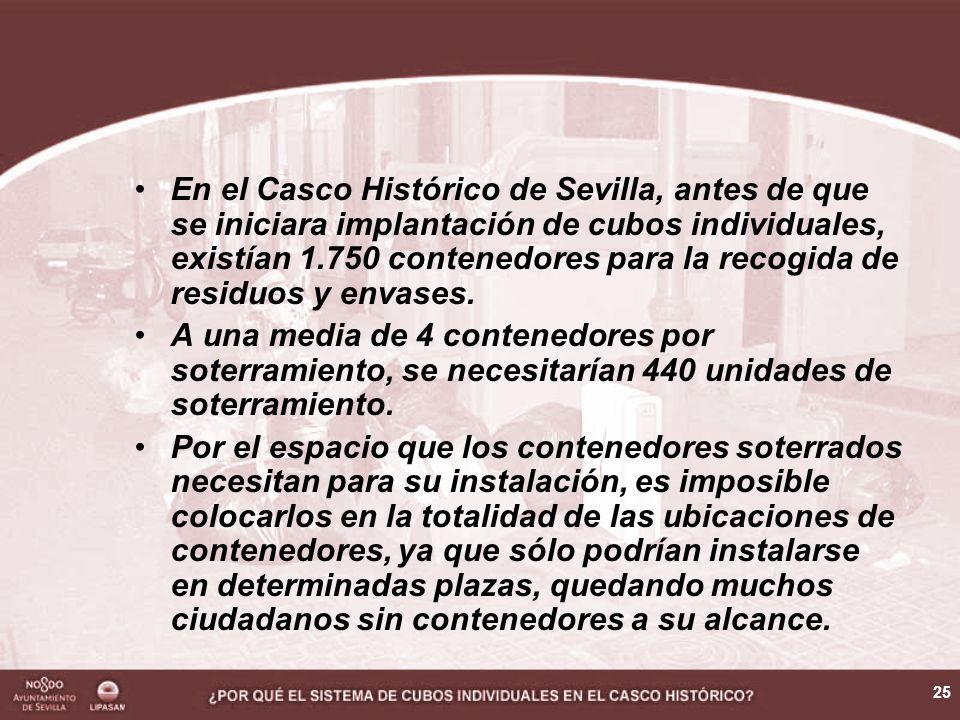 25 En el Casco Histórico de Sevilla, antes de que se iniciara implantación de cubos individuales, existían 1.750 contenedores para la recogida de residuos y envases.