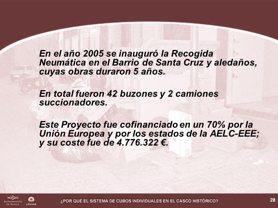 28 En el año 2005 se inauguró la Recogida Neumática en el Barrio de Santa Cruz y aledaños, cuyas obras duraron 5 años. En total fueron 42 buzones y 2