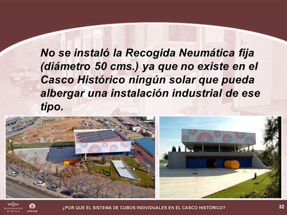 32 No se instaló la Recogida Neumática fija (diámetro 50 cms.) ya que no existe en el Casco Histórico ningún solar que pueda albergar una instalación industrial de ese tipo.