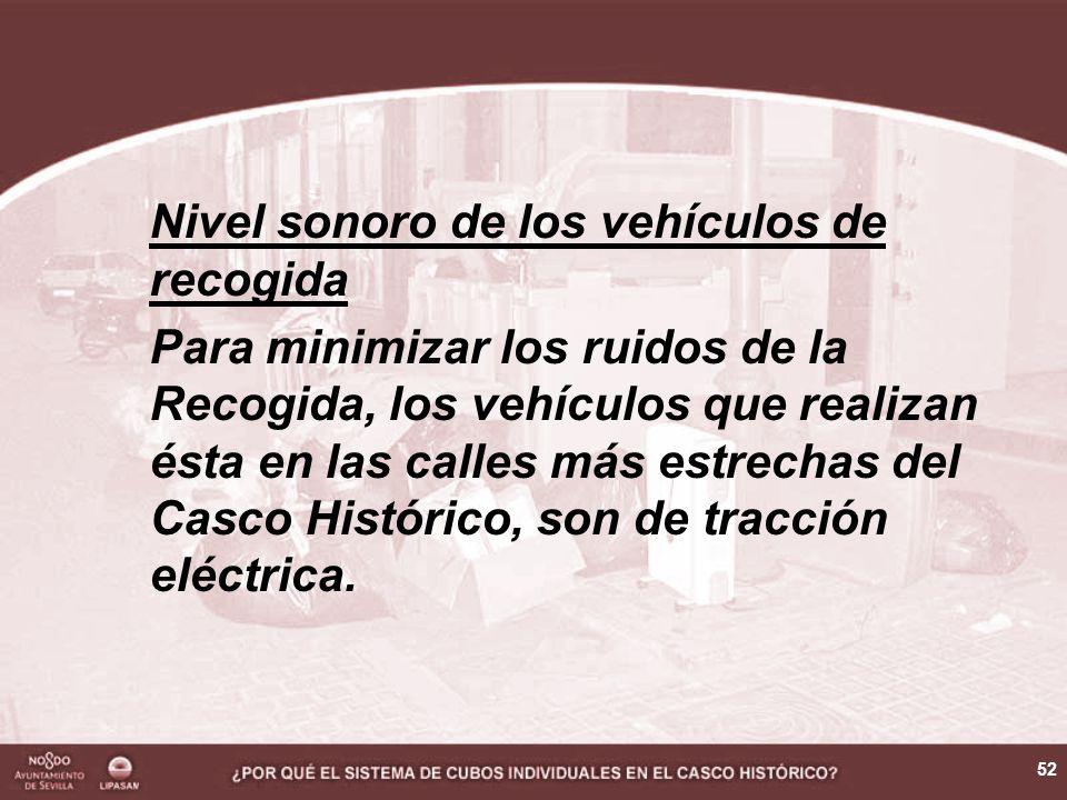 52 Nivel sonoro de los vehículos de recogida Para minimizar los ruidos de la Recogida, los vehículos que realizan ésta en las calles más estrechas del