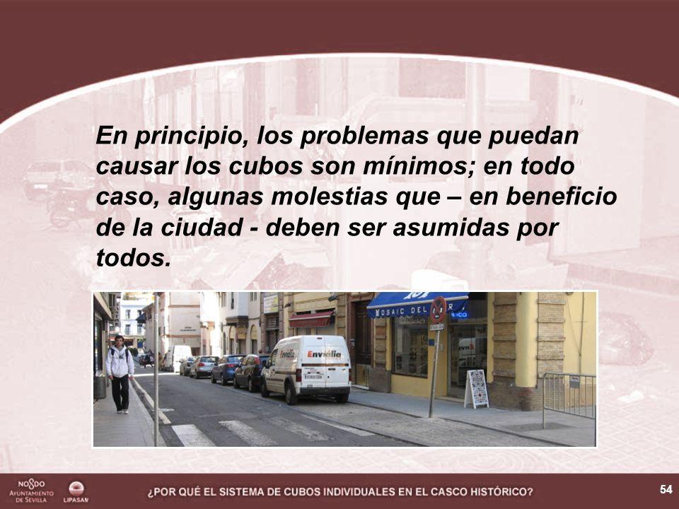 54 En principio, los problemas que puedan causar los cubos son mínimos; en todo caso, algunas molestias que – en beneficio de la ciudad - deben ser asumidas por todos.