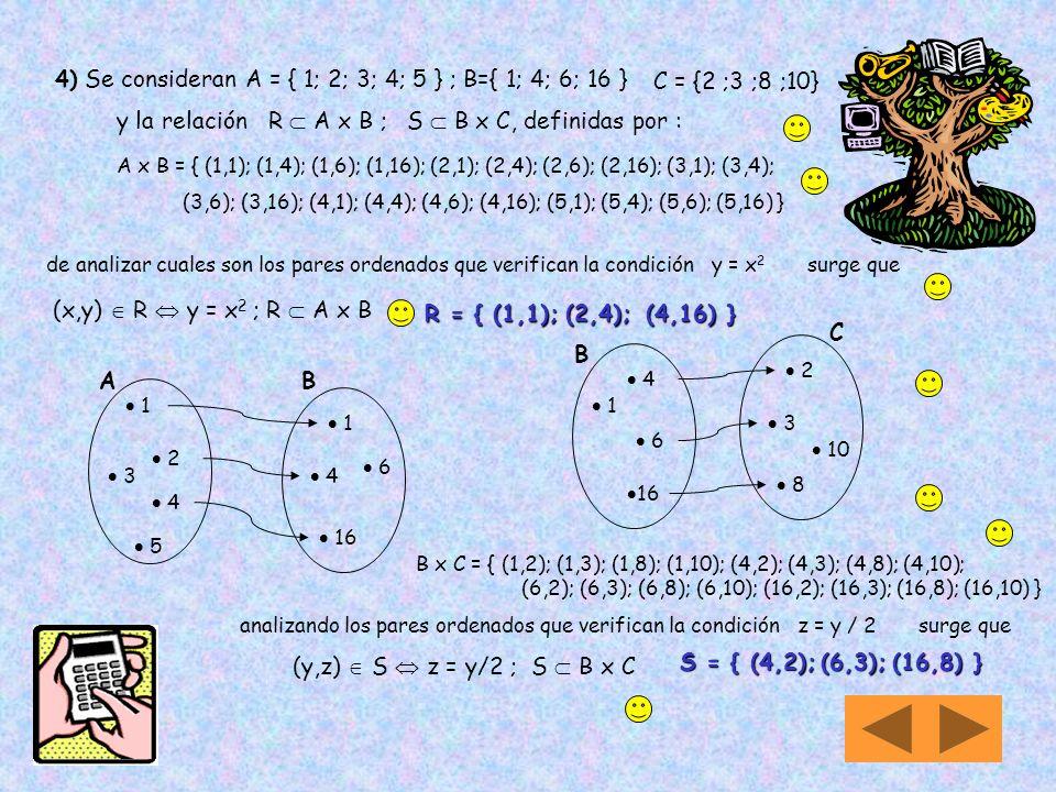 Composición de Relaciones Sean los conjuntos A; B y C Y entre ellos se establecen relaciones R: A By S: B C Definimos la composición de R y S, que se