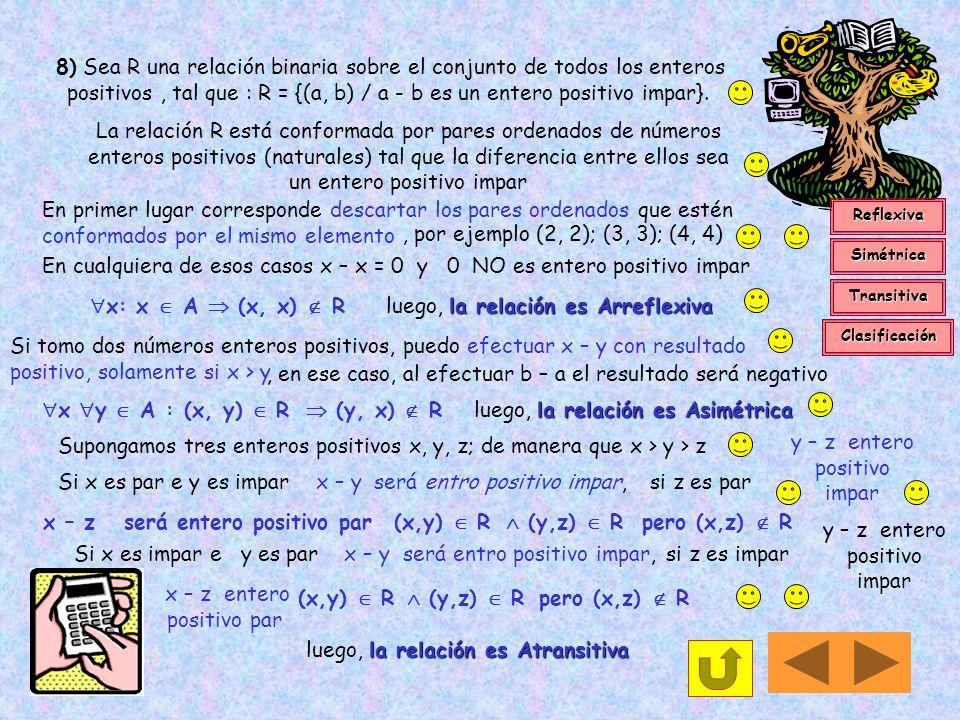 7) Sea R una relación binaria sobre el conjunto de todas las sucesiones de ceros y unos, tal que : R = { (a, b) / a b son sucesiones que tienen el mis