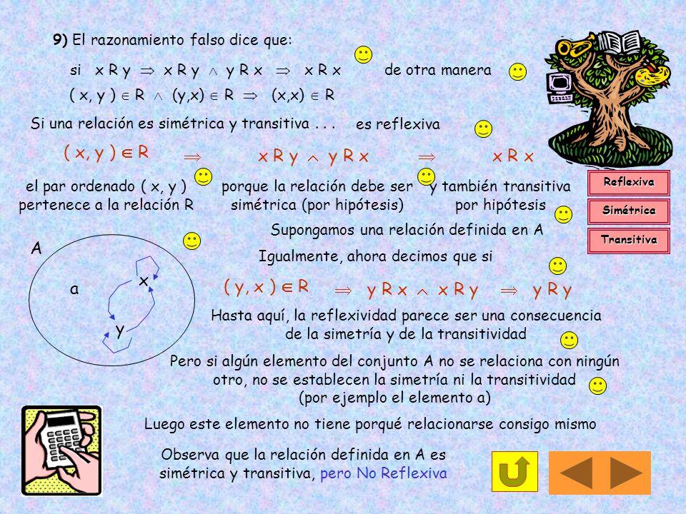 8) Sea R una relación binaria sobre el conjunto de todos los enteros positivos, tal que : R = {(a, b) / a - b es un entero positivo impar}. La relació