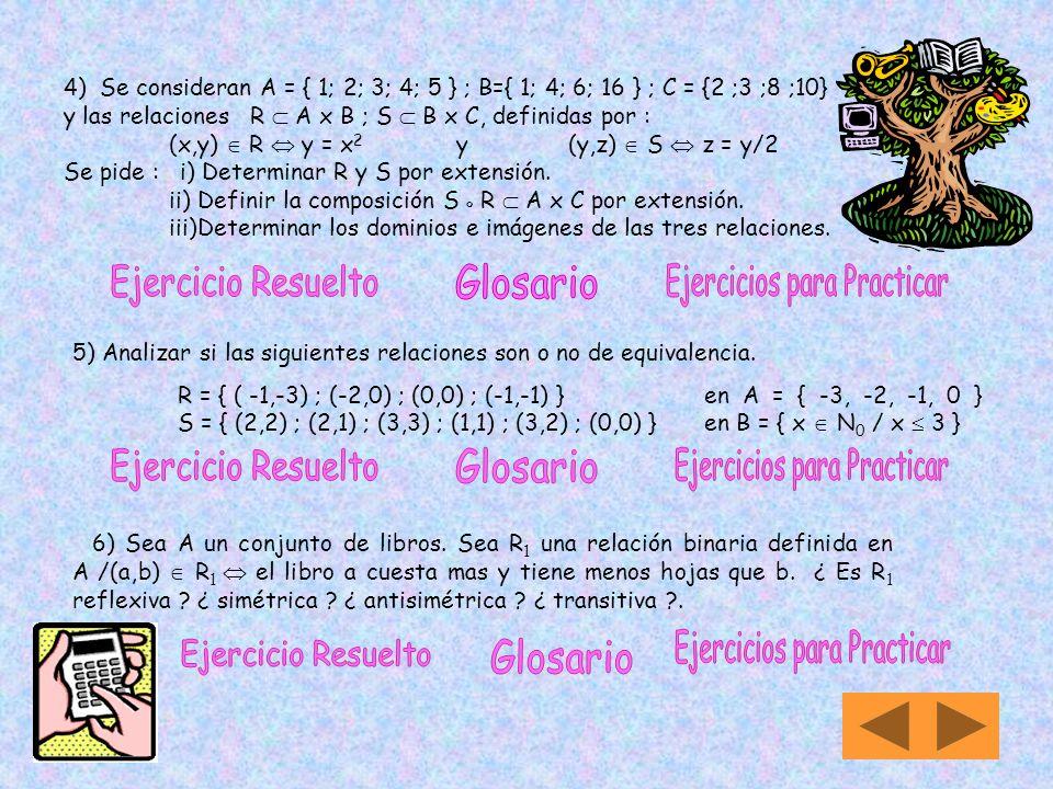 Trabajo Práctico Nº 3 Relaciones y Funciones 1) Sea A = { 1 ; 2 }. Construya el conjunto P (A) x A. 2) a) Dé un ejemplo de conjuntos A ; B ; C y D tal