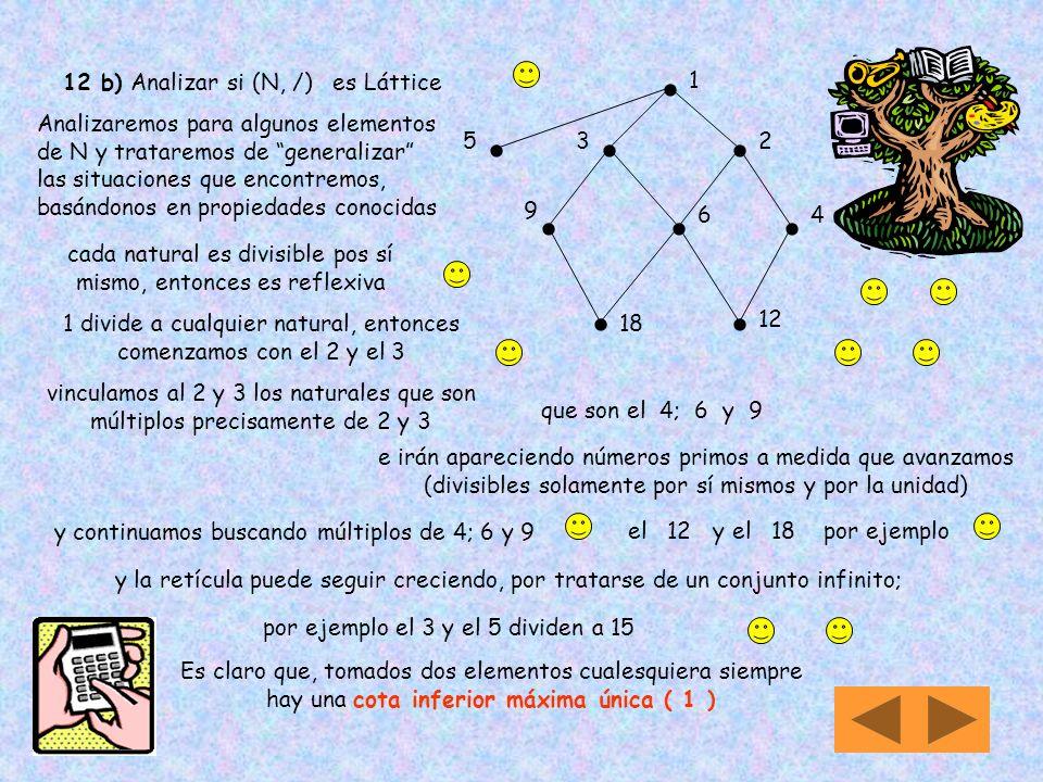 12 a) Analizar si (N, ) es Láttice N = { 1, 2, 3, 4, 5,..... } el conjunto N está conformado por 1 4 2 3 5.... ( N, ) significa que N es un conjunto o