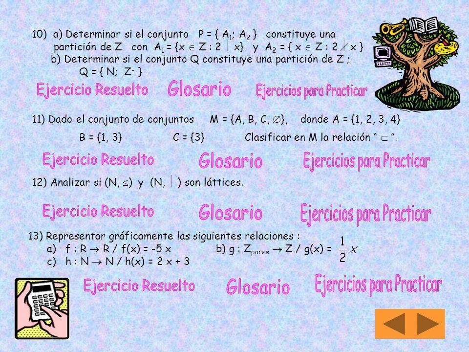7) Sea R una relación binaria sobre el conjunto de todas las sucesiones de ceros y unos, tal que : R = {(a, b) / a b son sucesiones que tienen el mism