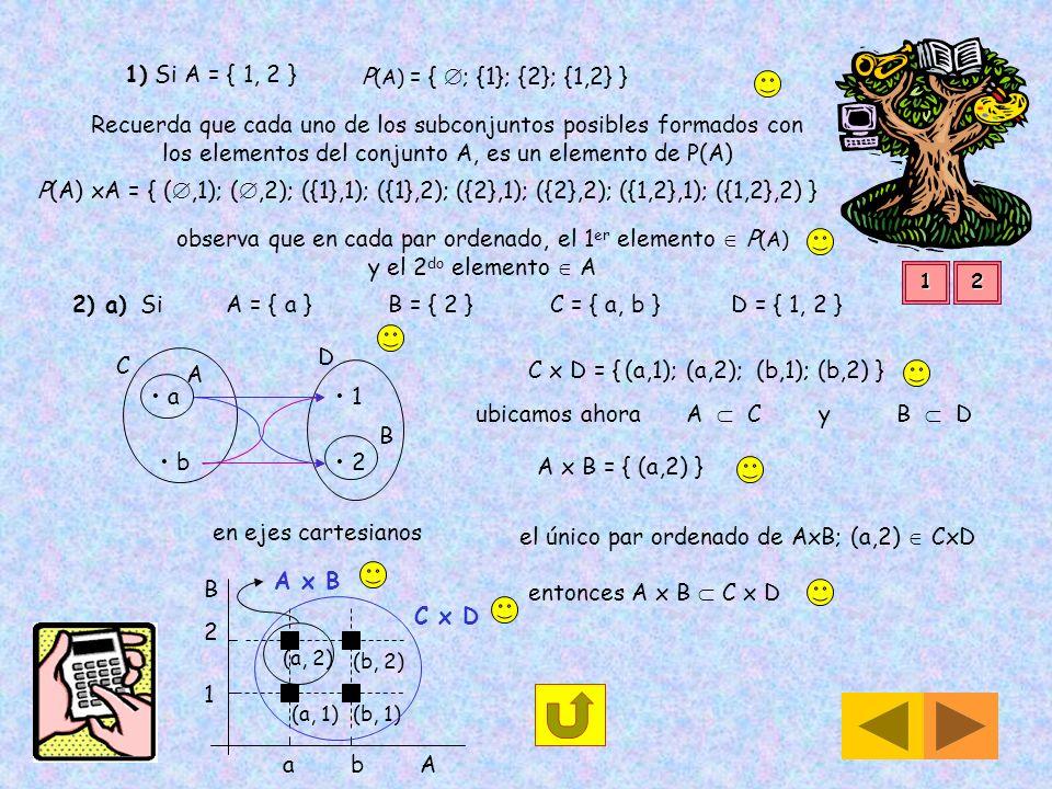Producto Cartesiano Dado un conjunto A = { a, b } a A y un conjunto B = { 1, 2 } 1 B El producto cartesiano A x B se forma con todos los pares ordenad