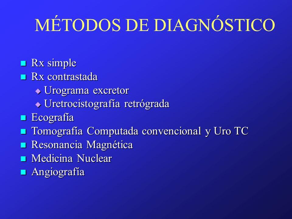 MÉTODOS DE DIAGNÓSTICO Rx simple Rx simple Rx contrastada Rx contrastada Urograma excretor Urograma excretor Uretrocistografía retrógrada Uretrocistog
