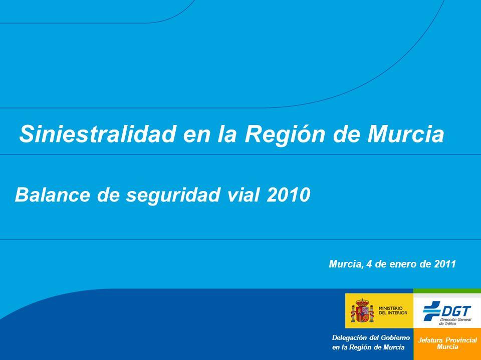 Balance de seguridad vial 2010 Murcia, 4 de enero de 2011 Jefatura Provincial Murcia Siniestralidad en la Región de Murcia Delegación del Gobierno en la Región de Murcia