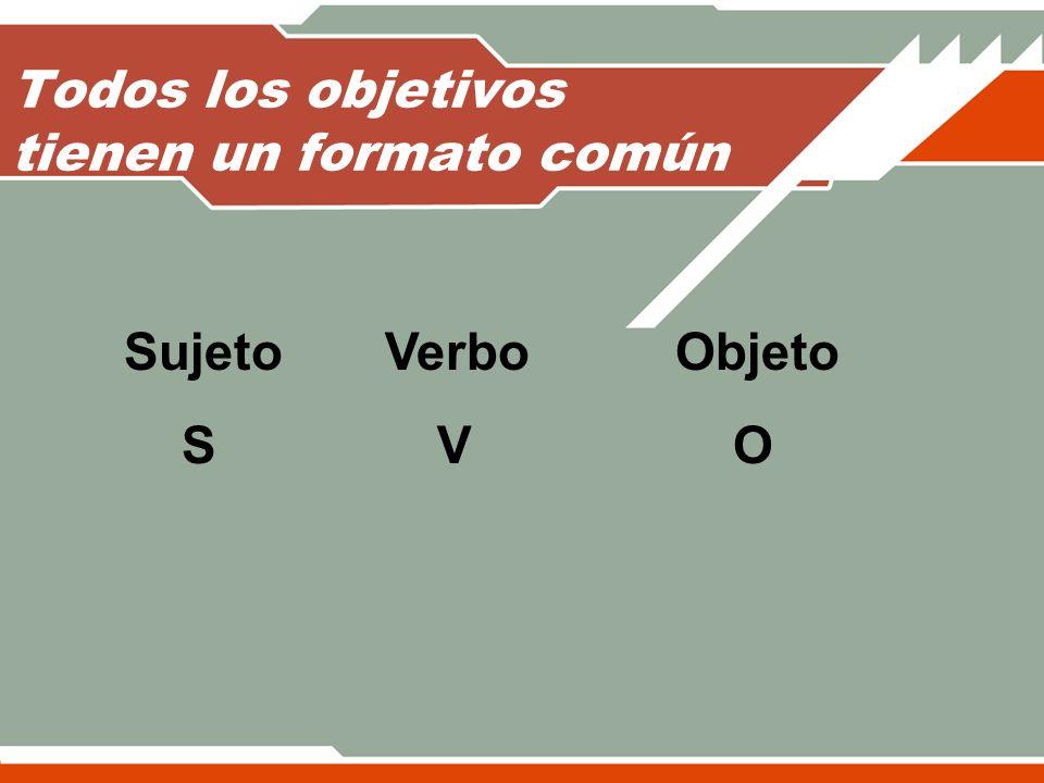 Todos los objetivos tienen un formato común Sujeto Verbo Objeto SV O
