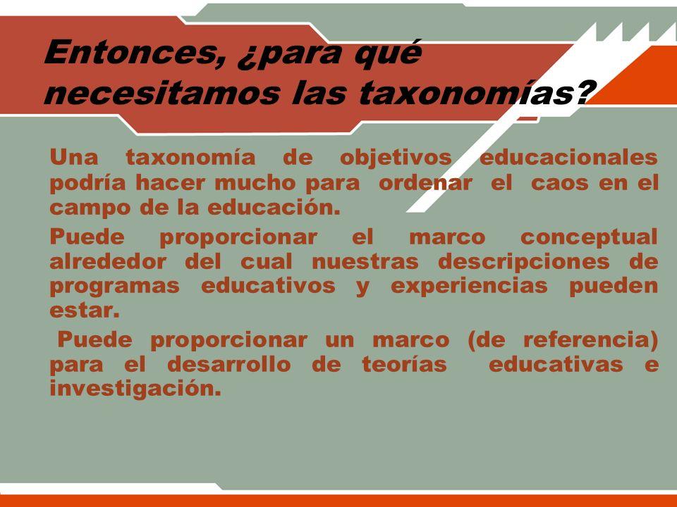 Entonces, ¿para qué necesitamos las taxonomías? Una taxonomía de objetivos educacionales podría hacer mucho para ordenar el caos en el campo de la edu