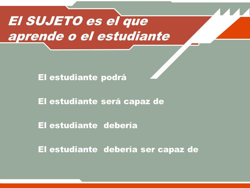 El SUJETO es el que aprende o el estudiante El estudiante podrá El estudiante será capaz de El estudiante debería El estudiante debería ser capaz de