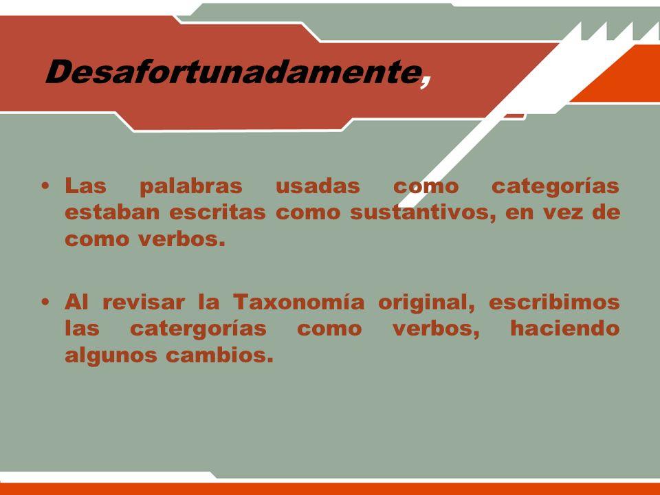 LA TABLA TAXONÓMICA D6 D5 D4 D3 D2 D1 D.Conocimiento Metacognitivo C6 C5 C4 C3 C2 C1 C.