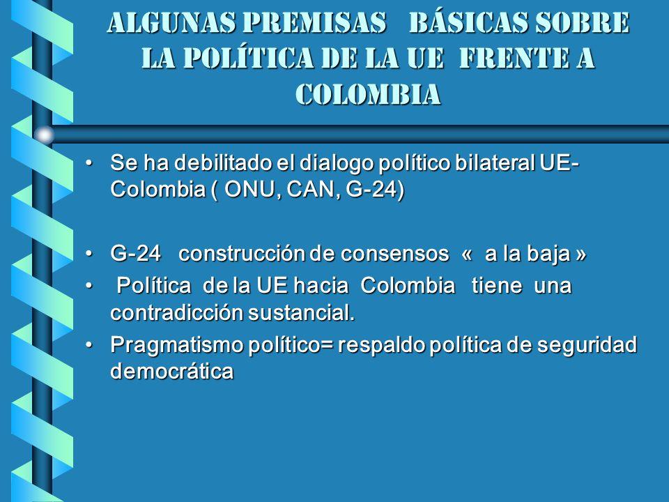 algunas premisas básicas sobre la política de la Ue frente a Colombia Se ha debilitado el dialogo político bilateral UE- Colombia ( ONU, CAN, G-24)Se ha debilitado el dialogo político bilateral UE- Colombia ( ONU, CAN, G-24) G-24 construcción de consensos « a la baja »G-24 construcción de consensos « a la baja » Política de la UE hacia Colombia tiene una contradicción sustancial.