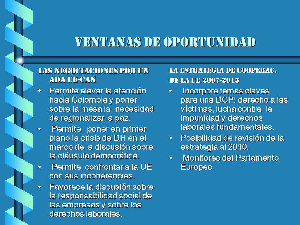 ventanas de oportunidad Las negociaciones por un AdA UE-CAN Permite elevar la atención hacia Colombia y poner sobre la mesa la necesidad de regionalizar la paz.Permite elevar la atención hacia Colombia y poner sobre la mesa la necesidad de regionalizar la paz.